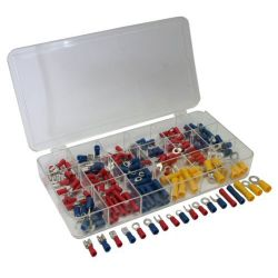 Assortment of 175 pre-insulated cable lugs in 18 different sizes EL400